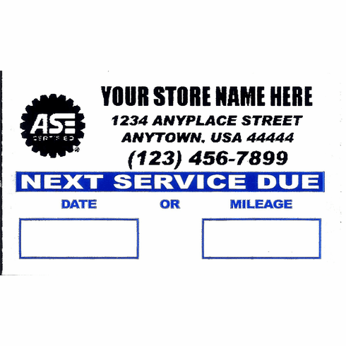 ASE Custom Oil Service Reminder Stickers 1000/roll