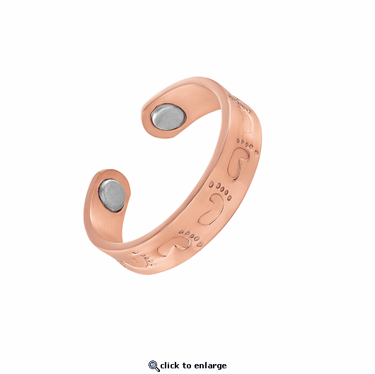 2 Copper Adjustable Magnetic Therapy Rings Footprints