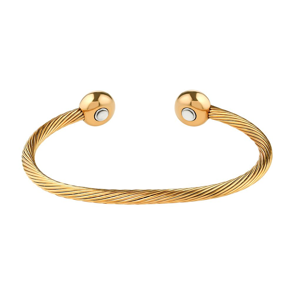 bd8d2f511aa All Stainless Steel Gold Cable Magnetic Therapy Bracelet