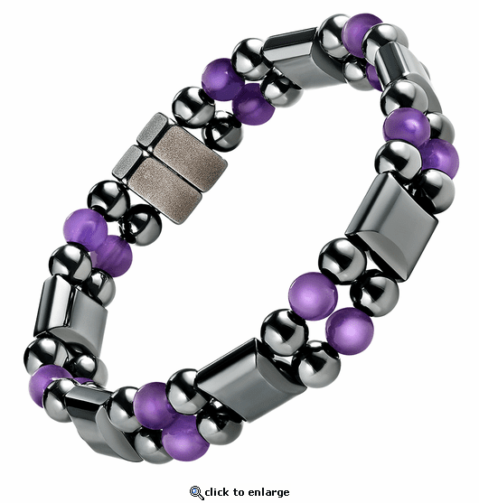 Double Hematite Magnetic Therapy Bracelet Amethyst