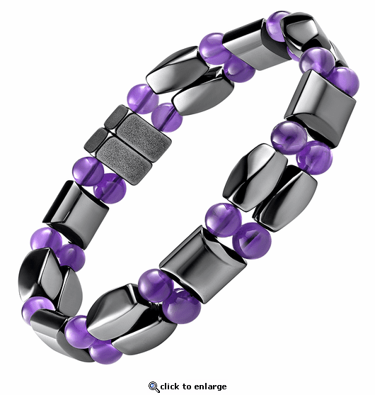 Double Hematite Magnetic Therapy Bracelet Amethyst Twister