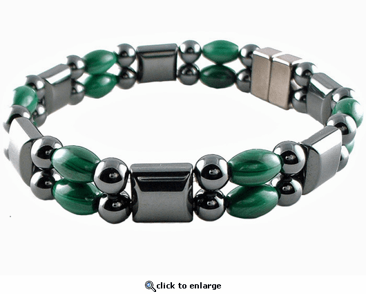 Double Hematite Magnetic Therapy Bracelet Malachite Rice