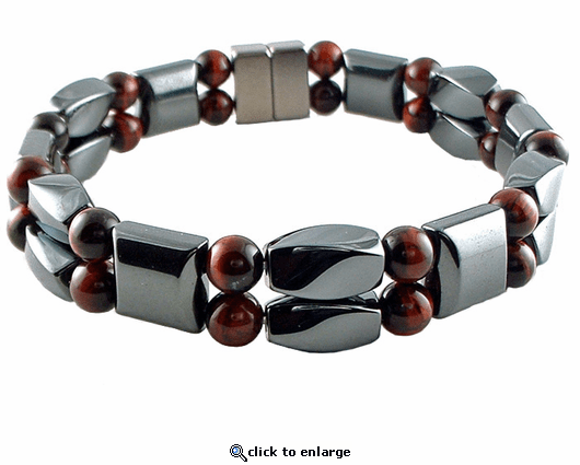 Double Hematite Magnetic Therapy Bracelet Red Tiger Twister