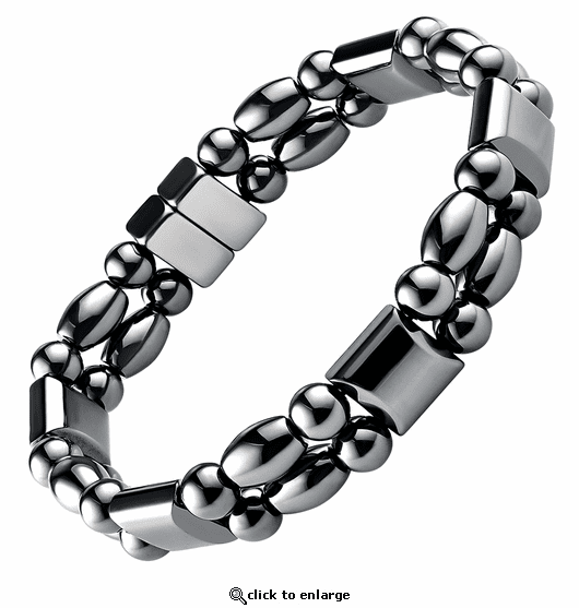 Double Hematite Magnetic Therapy Bracelet Rice