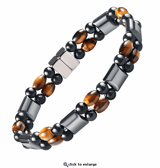 Double Hematite Magnetic Therapy Bracelet Tiger Eye Rice
