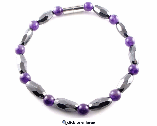 Hematite Magnetic Necklace Amethyst Grand Marquise