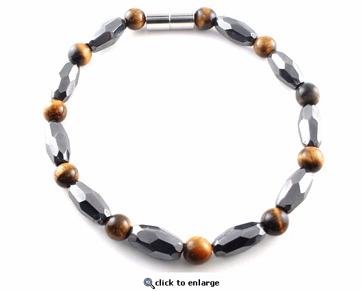 Hematite Magnetic Bracelet Tiger Eye Grand Marquise