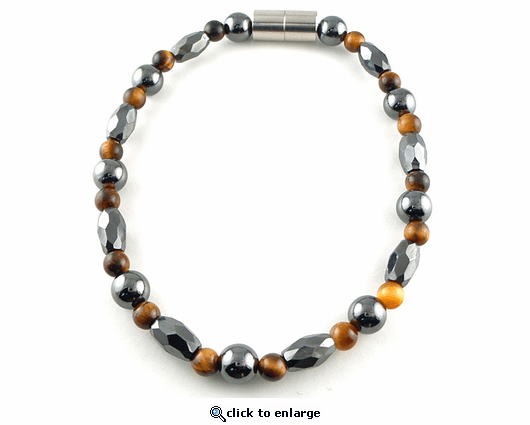 Hematite Magnetic Necklace Trey Marquise Tiger Eye
