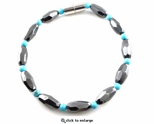 Hematite Magnetic Anklet Turquoise Grand Marquise Jr
