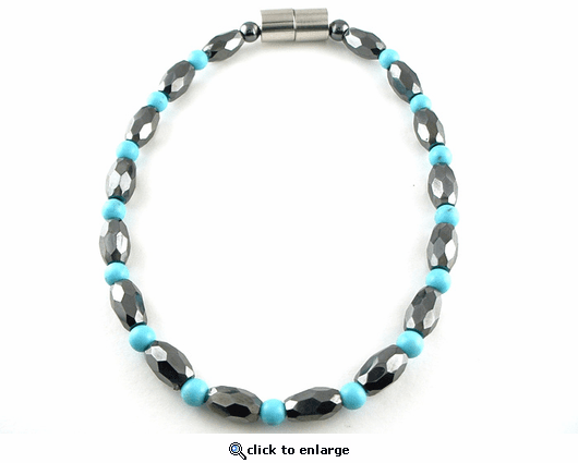 Hematite Magnetic Necklace Turquoise Petite Marquise