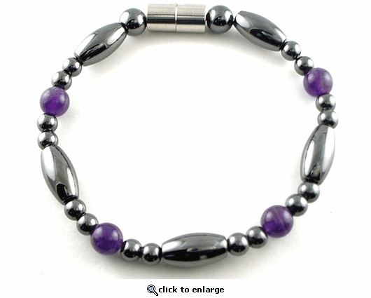 Hematite Magnetic Therapy Bracelet Amethyst Saturn