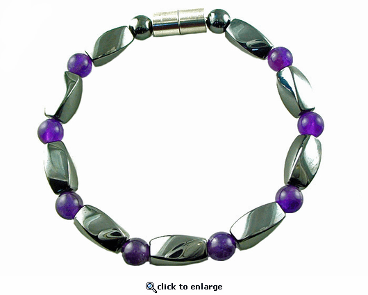 Hematite Magnetic Therapy Bracelet Amethyst Twister