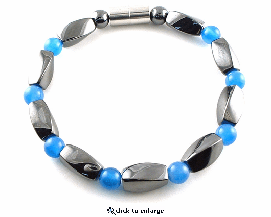 Hematite Magnetic Therapy Bracelet Blue Twister