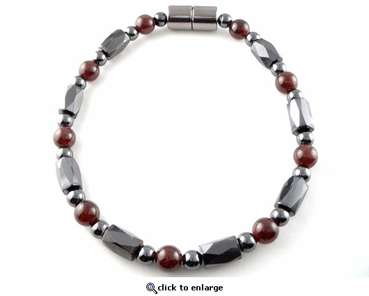 Hematite Magnetic Therapy Bracelet Garnet Europa