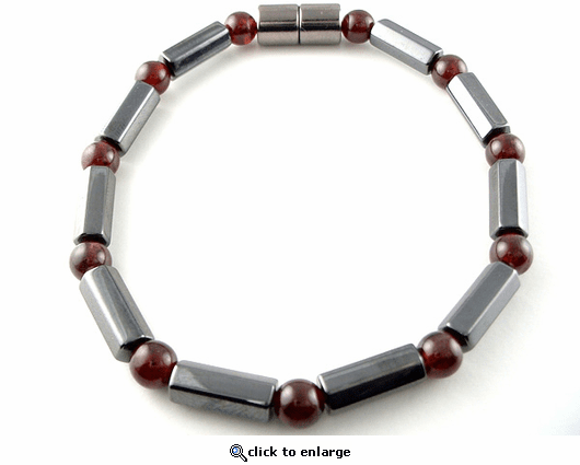 Hematite Magnetic Therapy Bracelet Garnet Polygons