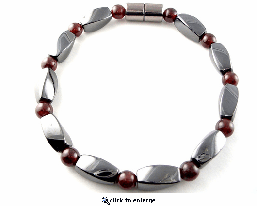 Hematite Magnetic Therapy Necklace Garnet Twister