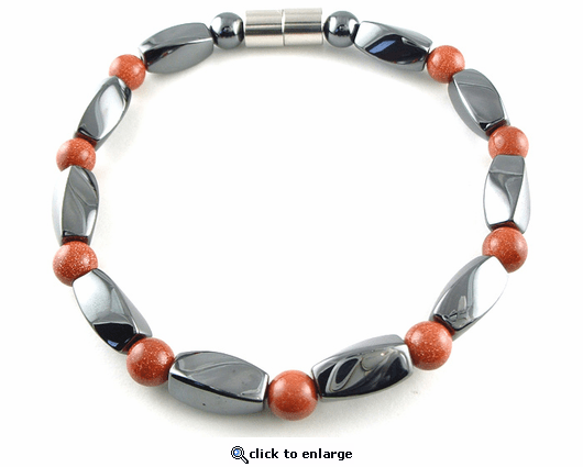Hematite Magnetic Therapy Bracelet Goldstone Twister