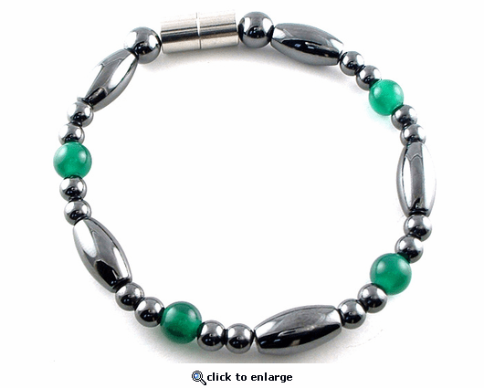 Hematite Magnetic Therapy Necklace Green Saturn