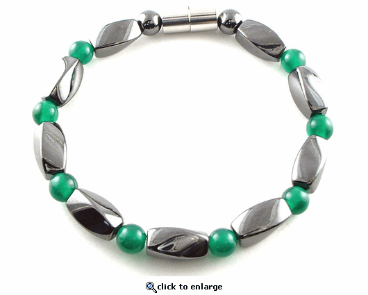 Hematite Magnetic Therapy Anklet Green Twister