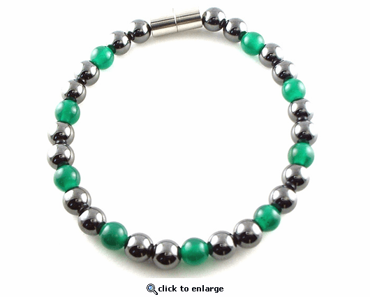 Hematite Magnetic Therapy Bracelet Green Unity