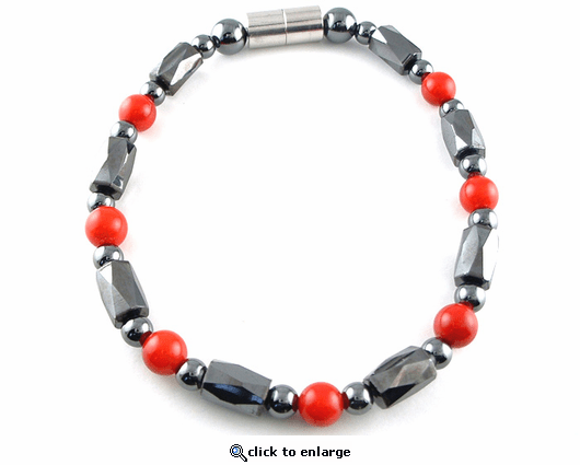 Hematite Magnetic Therapy Bracelet Red Coral Europa