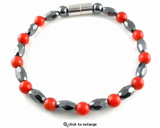 Hematite Magnetic Therapy Bracelet Red Coral Marquise