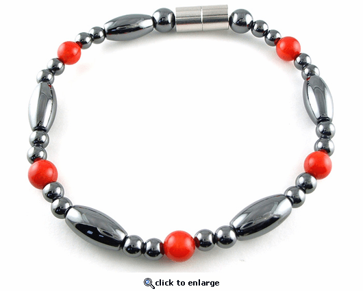 Hematite Magnetic Therapy Bracelet Red Coral Saturn
