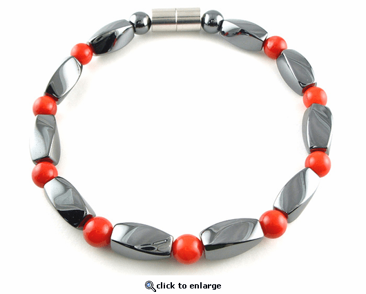 Hematite Magnetic Therapy Bracelet Red Coral Twister