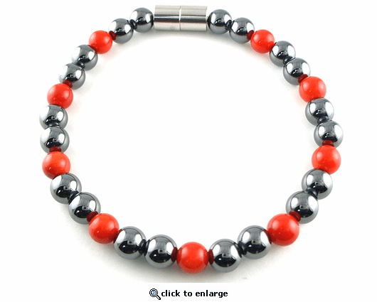 Hematite Magnetic Therapy Necklace Red Coral Unity