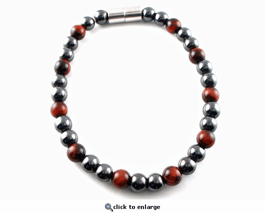 Hematite Magnetic Therapy Bracelet Red Tiger Eye Unity
