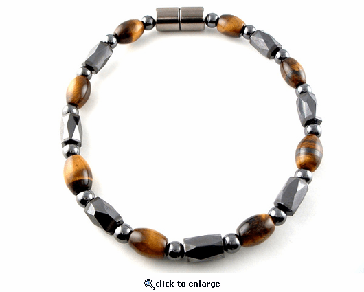Hematite Magnetic Therapy Necklace Rice Tiger Eye Europa