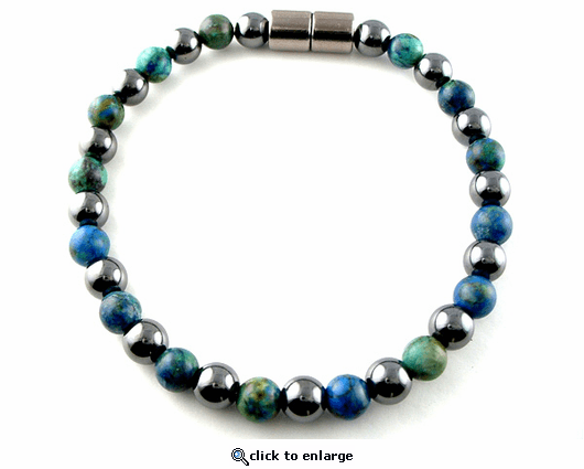 Hematite Magnetic Therapy Necklace Round & Lapis Duet