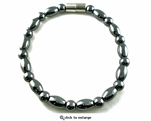 Hematite Magnetic Therapy Necklace Round & Rice