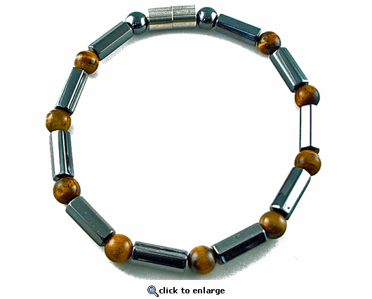 Hematite Magnetic Therapy Anklet Tiger Eye Polygons