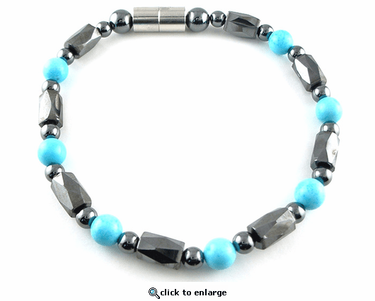 Hematite Magnetic Therapy Bracelet Turquoise Europa