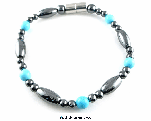 Hematite Magnetic Therapy Bracelet Turquoise Saturn