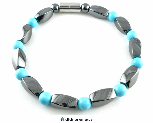 Hematite Magnetic Therapy Bracelet Turquoise Twister