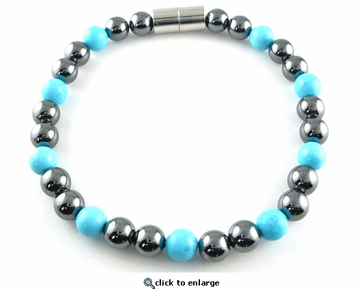 Hematite Magnetic Therapy Bracelet Turquoise Unity