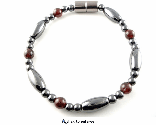 Hematite Magnetic Therapy Anklet Garnet Saturn