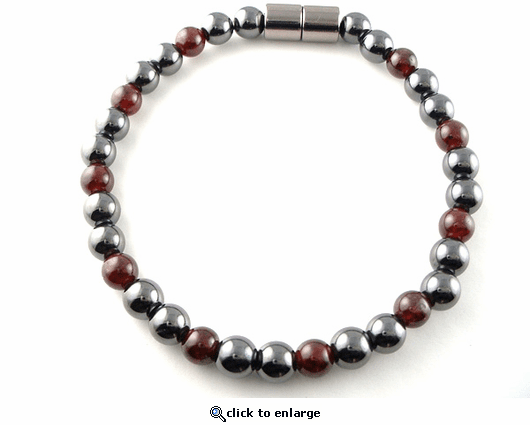 Hematite Magnetic Therapy Necklace Garnet Unity