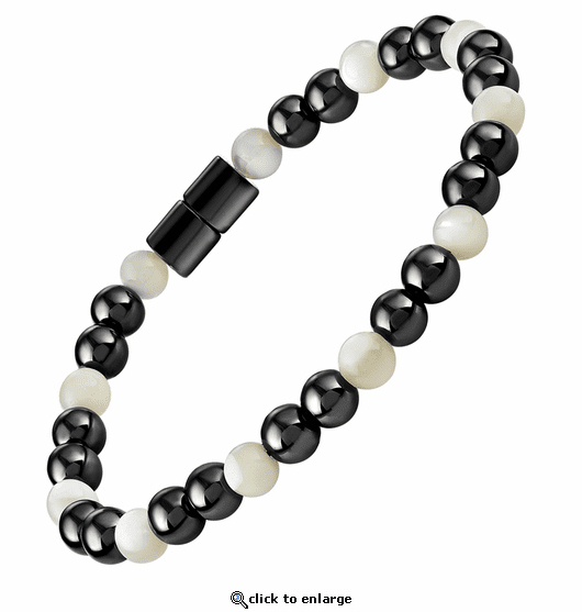 Hematite Magnetic Therapy Bracelet Mother of Pearl Unity