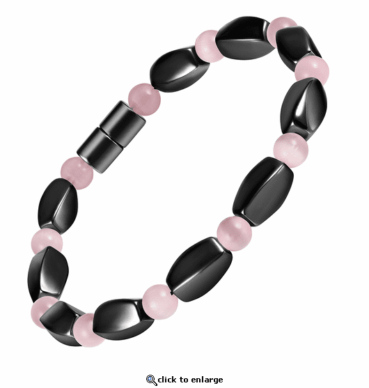 Hematite Magnetic Therapy Necklace Pink Twister