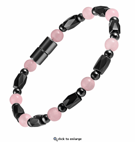 Hematite Magnetic Therapy Necklace Rose Quartz Europa