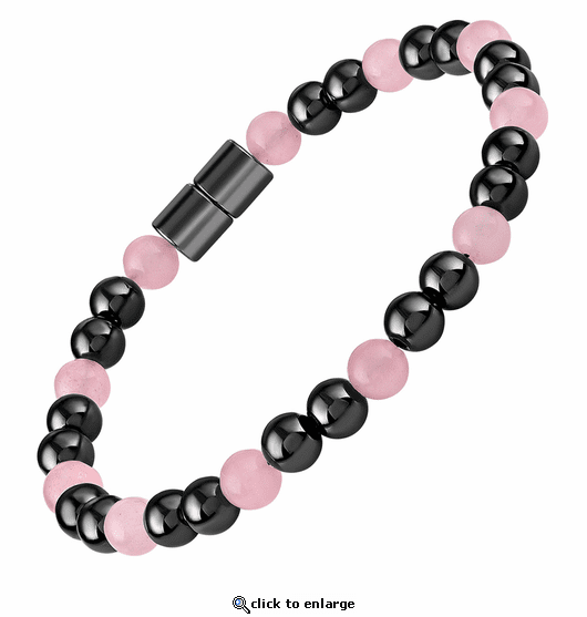 Hematite Magnetic Therapy Bracelet Rose Quartz Unity
