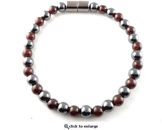 Hematite Magnetic Therapy Anklet Round & Garnet Duet