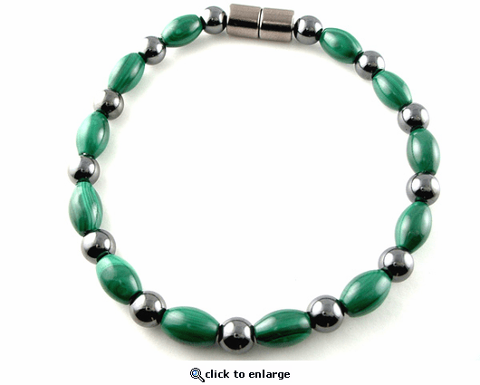 Hematite Magnetic Therapy Bracelet Round & Malachite Rice