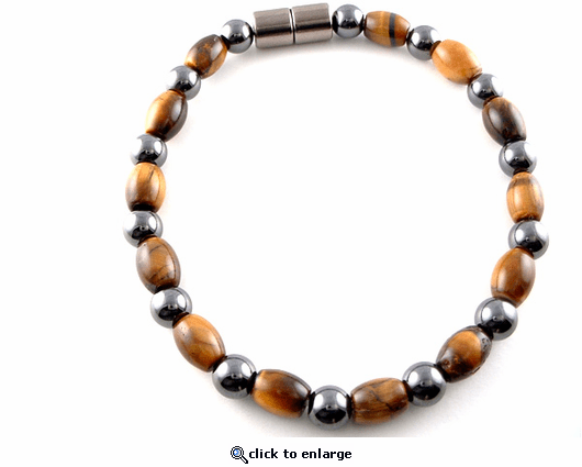 Hematite Magnetic Therapy Bracelet Round & Tiger Eye Rice