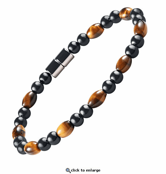 Hematite Magnetic Therapy Bracelet Tiger Eye Rice Unity