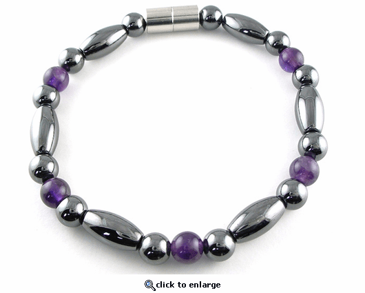 Hematite Magnetic Therapy Bracelet Amethyst Trey Rice