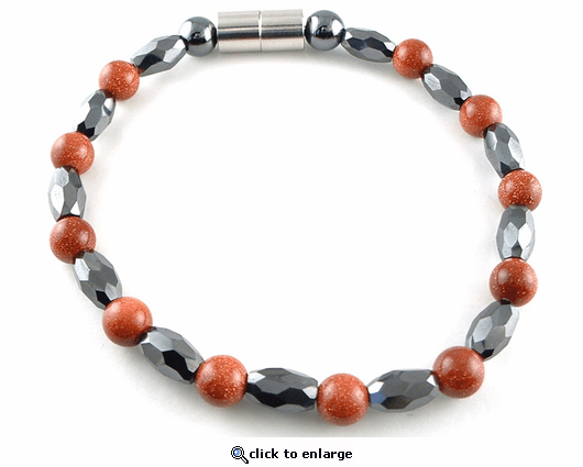 Hematite Magnetic Therapy Anklet Goldstone Marquise